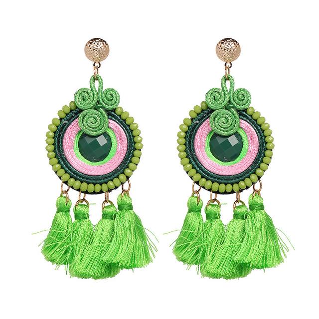 JUJIA Phụ kiện thời trang Trang sức Jujia tự sản xuất theo phong cách quốc gia hoa tai tua rua mới t