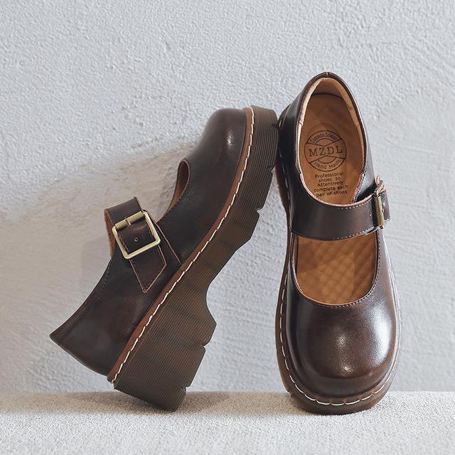 MZDL giày bánh mì / giày Platform Túi gang 566-1 mới văn học retro giày nữ dày đáy Mori Cô gái Nhật