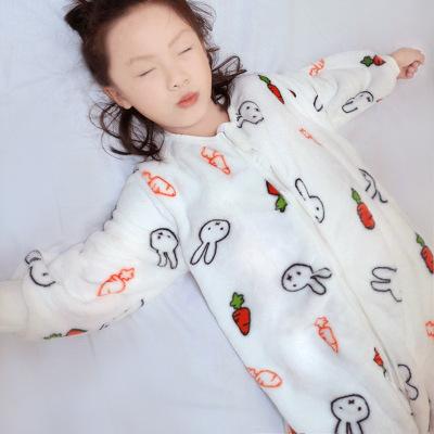 Đồ ngủ trẻ em Túi ngủ trẻ em flannel trẻ em chân chống đá là mùa thu và mùa đông mô hình những người