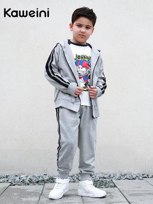 Kavlie Trang phục Jean trẻ em Bộ đồ thể thao cho bé trai mập 2019 trang phục mùa thu bé trai lớn cộn