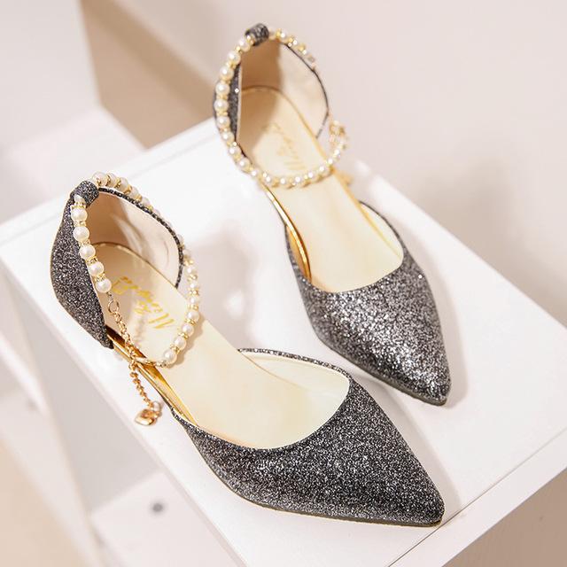 Giày nữ hàng Hot Phiên bản Hàn Quốc 2018 của giày cao gót rhinestone sáng bóng với miệng nông khóa n