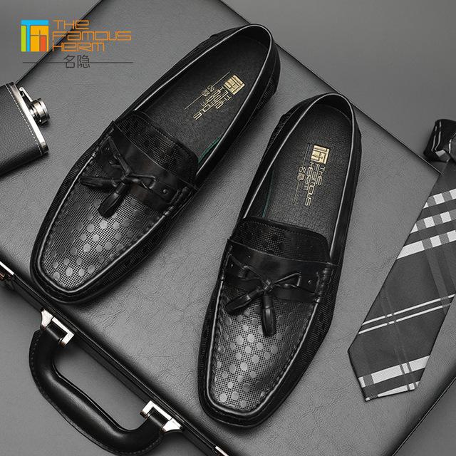 The famous herm Giày mọi đế thấp Túi tóc giúp giày nam TFH | bốn mùa giày đậu mới da nam giới trẻ Hà