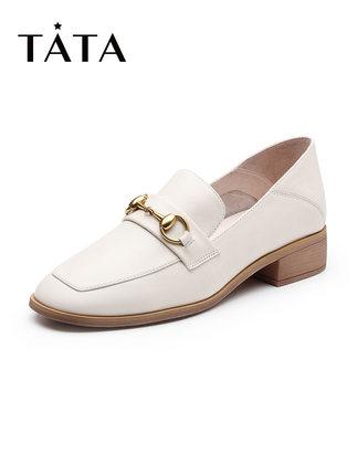 tata Giày Loafer / giày lười Tata / he quầy mùa thu 2019 của cô ấy với cùng khóa da bò bằng da bò có