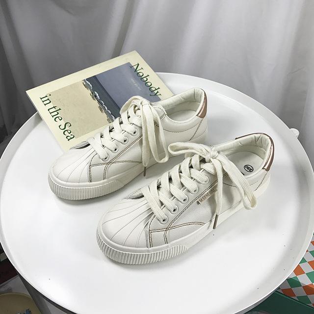 MINGJIANG giày vải Túi băng đô 2019 mùa xuân giày vải mới nữ sinh viên Hàn Quốc phiên bản đế bằng da