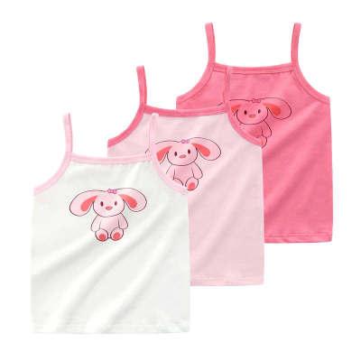 Bear Lovers Áo ba lỗ  / Áo hai dây trẻ em Phiên bản Hàn Quốc của áo yếm nữ 95% cotton mỏng cho bé mù
