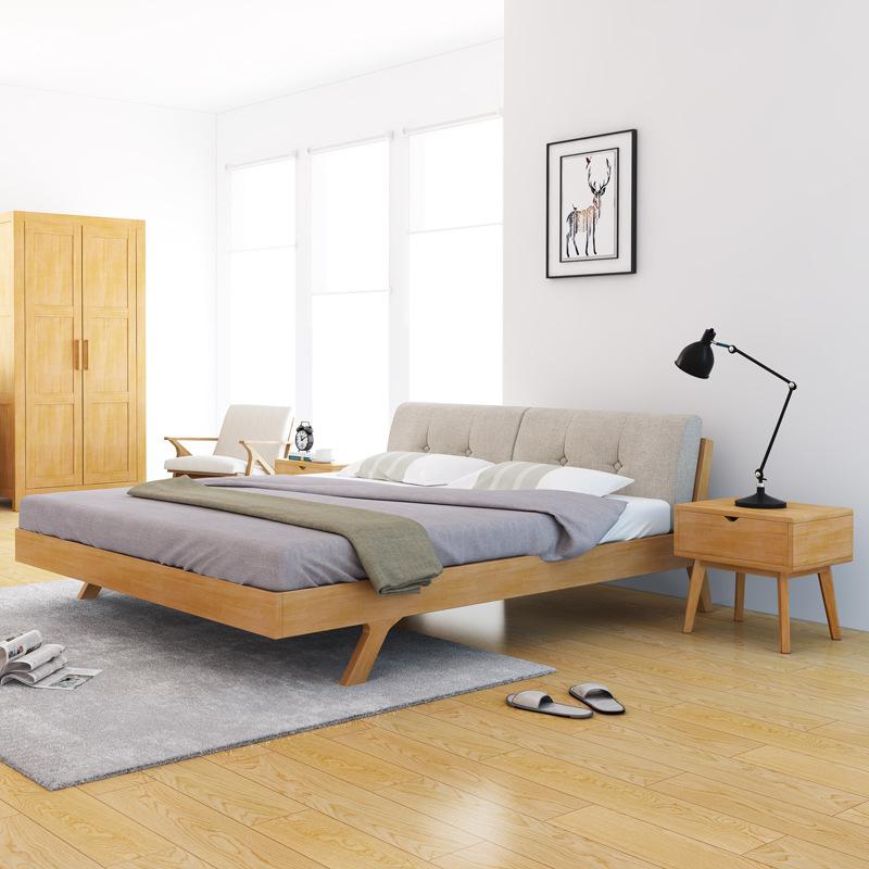 LUNGE Nội thất Giường gỗ Bắc Âu Đơn giản hiện đại 1,5 m / 1,8 m giường đôi mềm có thể giặt đồ nội th
