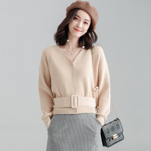 SHANDIEJI Thời trang nữ Túi tóc giúp mùa thu đông 2019 mới thời trang Hàn Quốc v-cổ dài tay ngoài áo