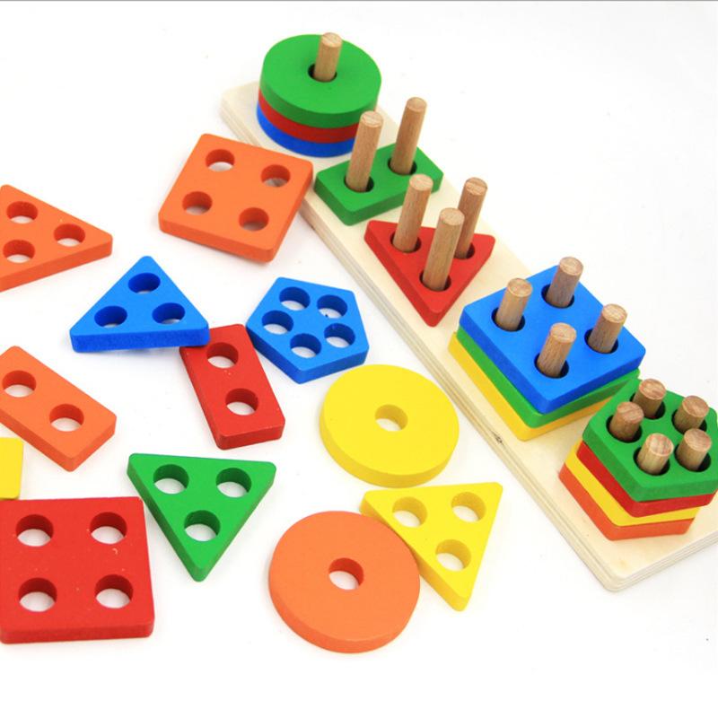 HONGCHENG - Bộ đồ chơi ghép cột Hình học cho bé .