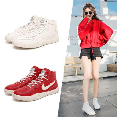 Giày Sneaker / Giày trượt ván Giày da cao cổ màu trắng nữ 2019 xuân hè mới phiên bản mới của Hàn Quố