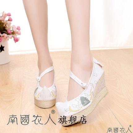 NGYR Vải thêu  2019 mới đế bệt đế xuồng retro thêu gió giày vải cũ Bắc Kinh Giày đơn nữ Giày Hanfu t