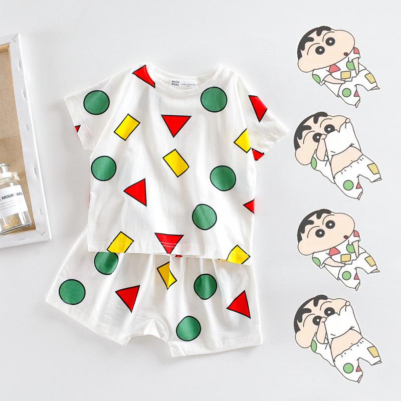 NMTT Đồ ngủ trẻ em Túi tóc giúp đỡ Crayon Shinchan với cùng một bộ đồ ngủ Bộ đồ ngủ nam và nữ hoạt h