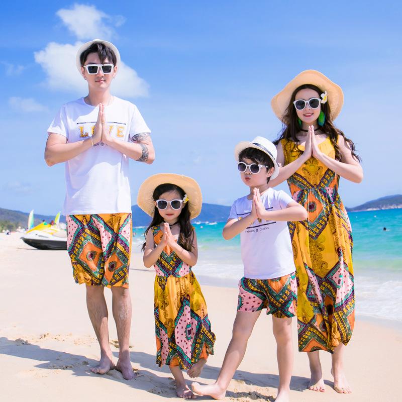 E JIAREN Áo thun gia đình Túi tóc giúp thương hiệu gia đình E 2018 gia đình hè mới của bốn bãi biển