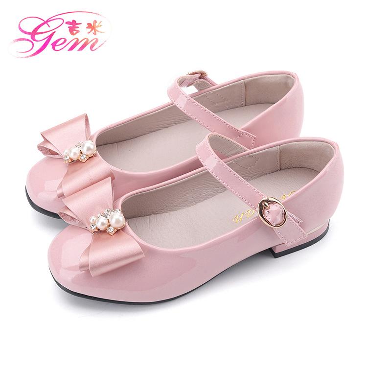 XYGZ Giày trẻ em Hot 2019 mới mùa thu thời trang công chúa giày nơ ngọc trai trang trí giày trẻ em d