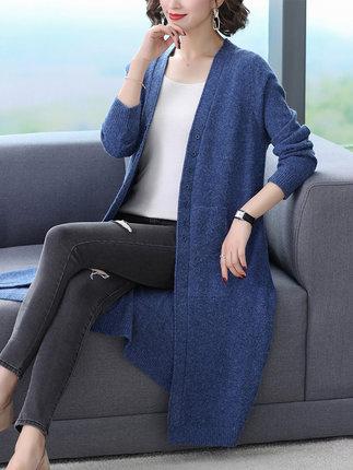 HUANJINSHAN Áo khoác Cardigan Áo khoác dệt kim dài trong phần dài của mùa thu 2019 mới của phụ nữ mù
