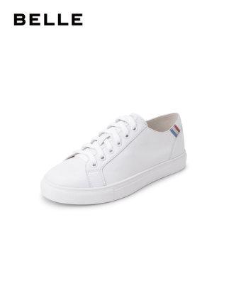 BELLE  Giày trắng nữ Giày trắng nữ Giày trắng 2019 mùa xuân mới bằng da vải sequin phẳng giày thông