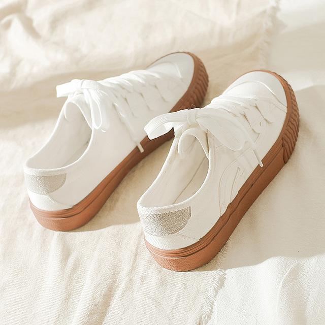 BLDR Giày trắng nữ Túi tóc 2020 mùa thu mới giày vải caramel nữ Nhật Bản Giày nhỏ màu trắng nhỏ buộc