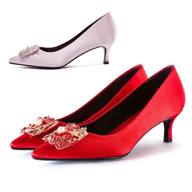 Giày cô dâu Túi kẹp tóc rồng và phượng mới 5,5 cm 619-23 giày cao gót màu đỏ giày cao gót giày cưới