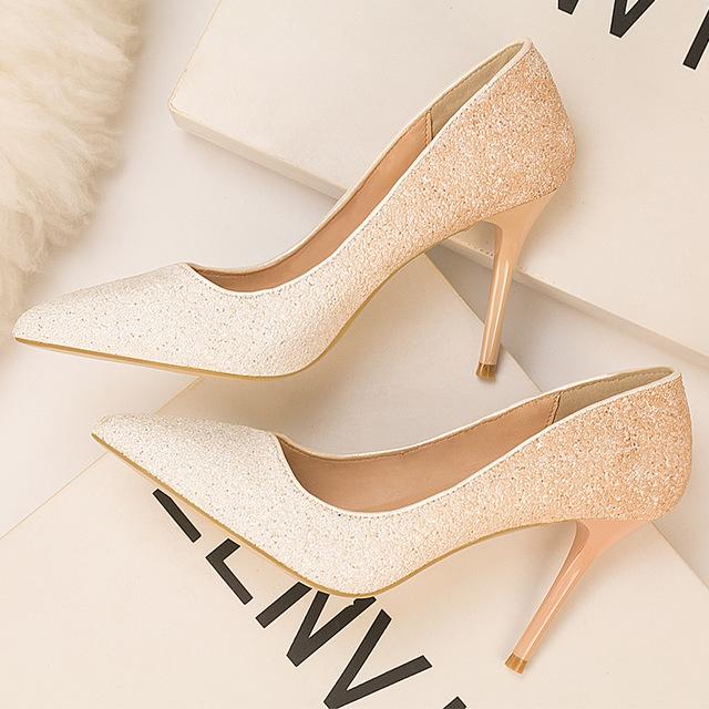 Eloshman Giày nữ hàng Hot Túi tóc giúp 6289-18 Giày gió châu Âu và Mỹ Giày cao gót đế nông mũi nhọn