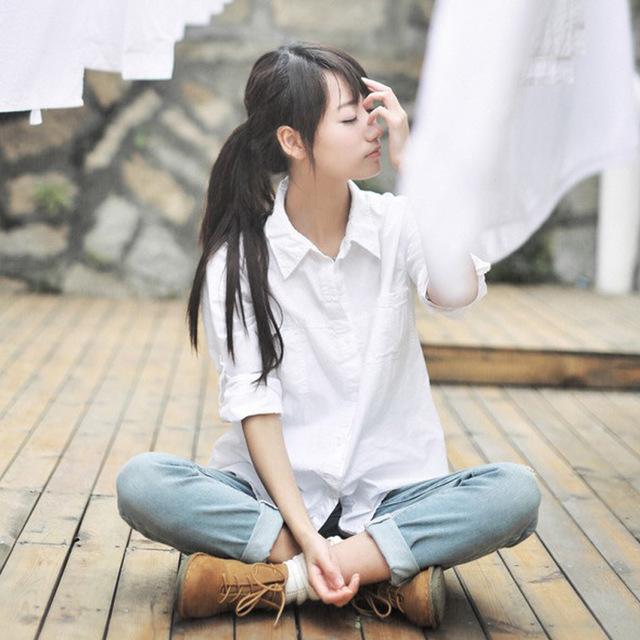 YA YIGE Thời trang nữ Túi đeo băng đô Nhật Bản đồng phục JK áo sơ mi trắng dài tay Đồng phục học sin