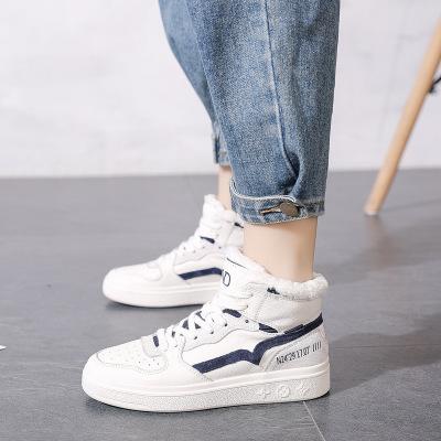 Giày Sneaker / Giày trượt ván Giày da cao cổ nữ màu trắng 2019 thu đông mới phiên bản Hàn Quốc của g