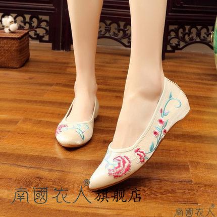 NGYR Vải thêu  Giày vải thêu quốc gia gió nữ giày dép Bắc Kinh giày nữ giày đế xuồng giày đế vuông v
