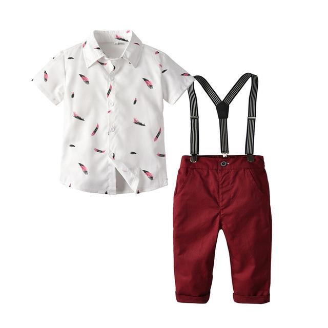 Đồ Suits trẻ em Túi tóc giúp trẻ em mùa hè châu Âu và châu Mỹ mới phù hợp với áo sơ mi trẻ em lông b