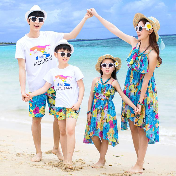 YINGWEI Áo thun gia đình Đầm hè hè bố mẹ con 2019 cặp vợ chồng đi nghỉ hè cùng gia đình ba mẹ đầm đầ