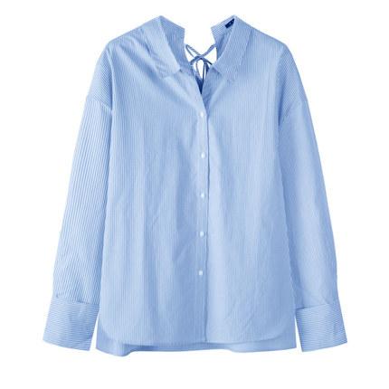 SEMIR Áo sơ mi Giải phóng mặt bằng Senma ve áo dài tay nữ áo sơ mi rộng cổ áo sọc cotton thiết kế ý