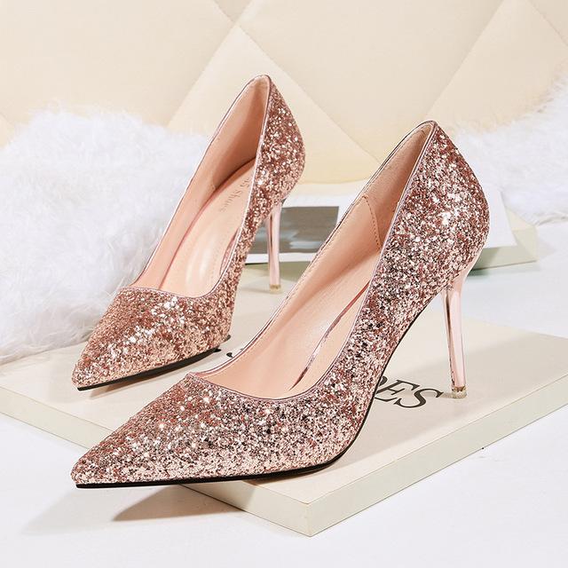 NO.55 Shoes Giày nữ trào lưu Hot Túi kẹp tóc 9622-8 Châu Âu và Châu Mỹ Giày cao gót mũi nhọn gợi cảm