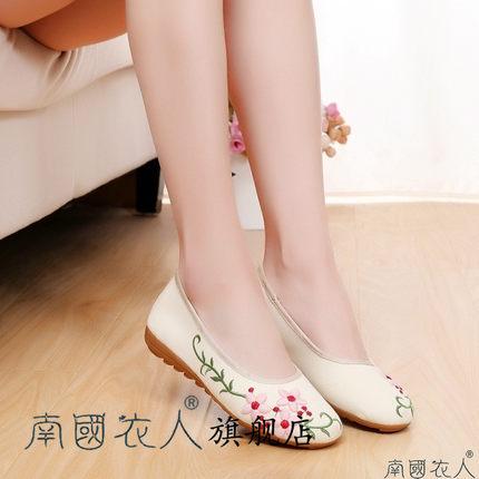 NGYR Vải thêu  Giày đế thấp họa tiết hoa gió quốc gia đơn nữ trung niên Bắc Kinh giày vải thêu Giày