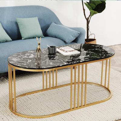 HUAYUN Bàn trà Bàn tròn nhỏ Bắc Âu bài hiện đại mạ vàng bên ánh sáng sang trọng bàn cà phê đá cẩm th