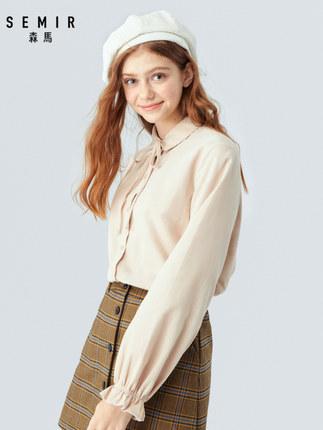 SEMIR Áo sơ mi Áo sơ mi nữ tay dài Senma 2019 mùa thu mới gừng búp bê cổ áo sơ mi cotton retro nhung
