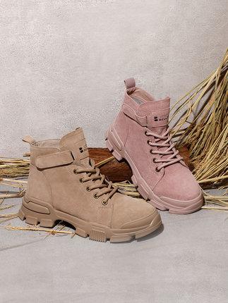 BELLE  Giày lười / giày mọi đế cao  Giày thể thao nữ mùa đông mới của BELLE / Belle 2019 Giày da nữ