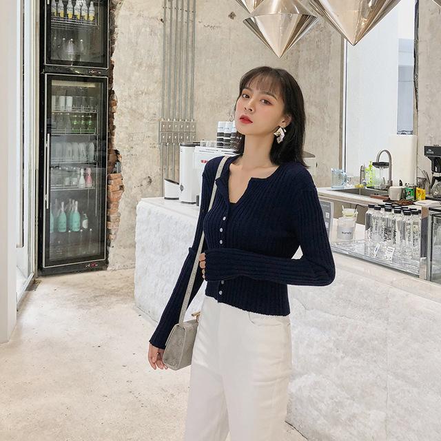 Áo khoác Cardigan Túi giúp Madou Super slim! Áo len dệt kim nữ mỏng và dài tay