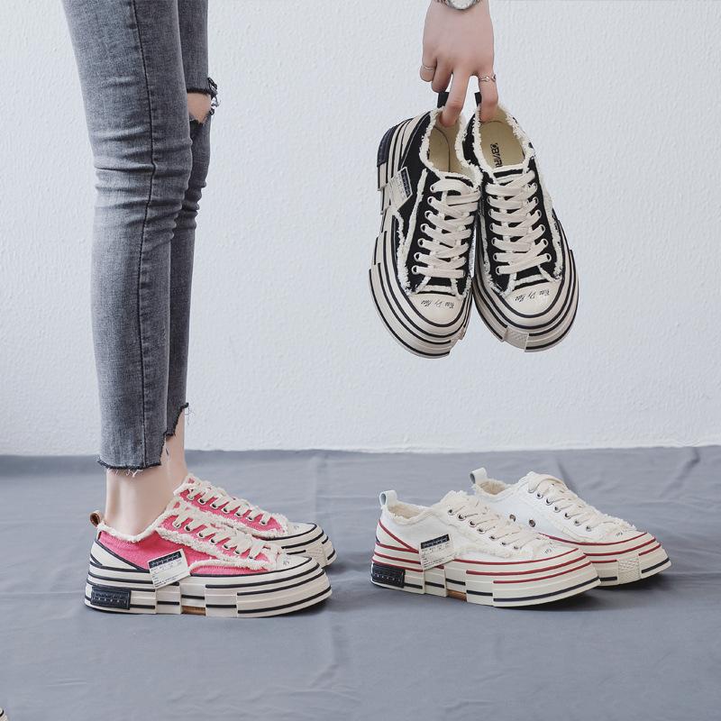 giày vải Giày đế bệt nước sốt rùa Wu Jianhao với phiên bản Hàn Quốc của đôi giày hoang dã siêu lửa đ