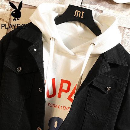 PLAYBOY Vải Jean  Playboy Áo khoác denim nam mùa xuân Hàn Quốc hợp thời trang Quần áo đẹp trai Joker