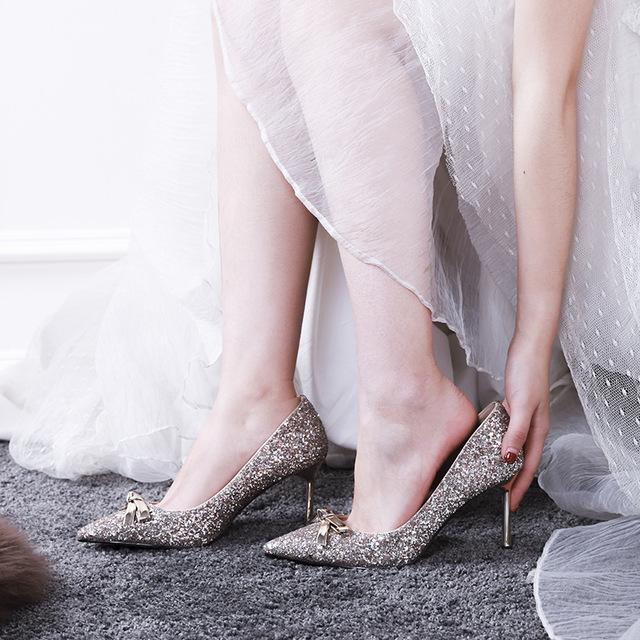 Giày nữ hàng Hot Giày cưới mới 2019 Giày cưới nữ phù dâu cao gót cô dâu giày cao gót đơn nữ