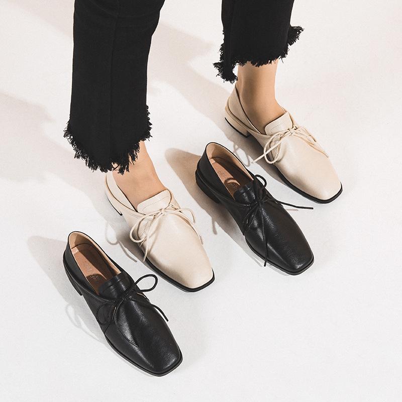 YASIRUN Giày Lok Fu Giày nữ mùa thu đông mới Giày lười hoang dã giản dị miệng sâu đầu vuông với một