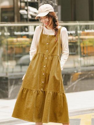 Yinman Đầm Inman 2019 mới mùa thu và váy mùa đông váy nữ sinh viên Pháp dây retro váy dài váy Sen nh