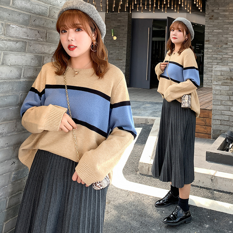 NAILI Thời trang nữ Áo len nữ cỡ lớn mm2019 mùa thu và mùa đông Áo len mới rộng rãi màu tương phản c