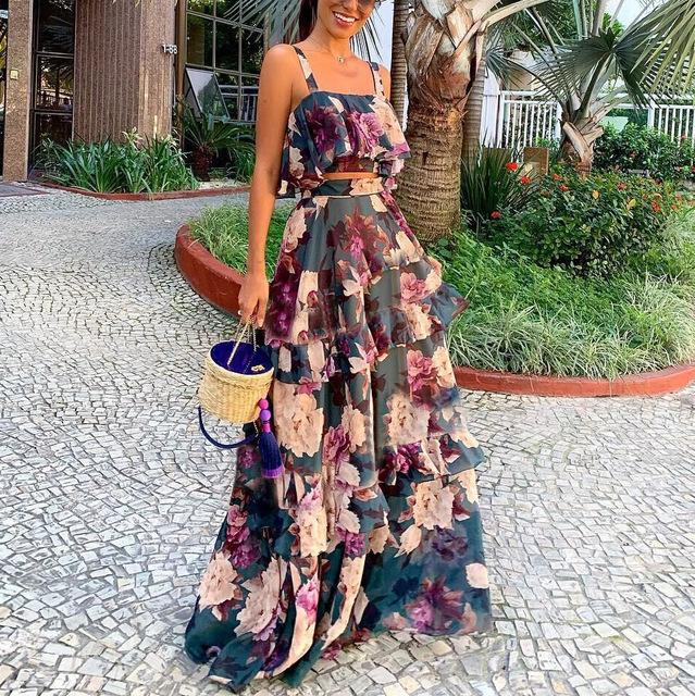 Thời trang Váy hai dây của phụ nữ châu Âu và châu Mỹ sling top + set đồ lá sen FC549