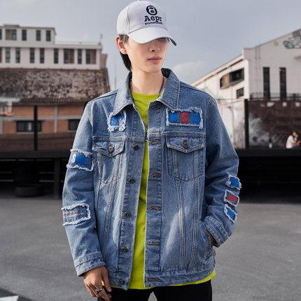 PLAYBOY Vải Jean  Playboy mùa thu denim mới áo khoác nam phiên bản Hàn Quốc của xu hướng áo vá vá th