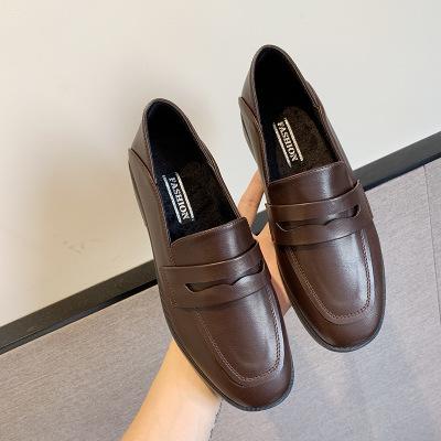 Giày Loafer / giày lười Giày da nữ nhỏ mùa thu 2019 giày nữ mới đơn giản thời trang giày lười retro
