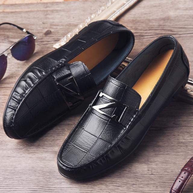 CHENGFA Giày mọi đế thấp Túi tóc giúp mùa xuân 2019 giày nam mới giản dị đế mềm bằng da đậu Hà Lan x