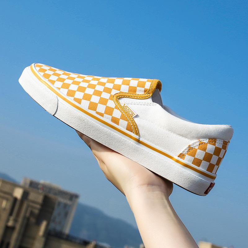 Giày lười / giày mọi đế cao Mùa xuân xu hướng mới kẻ sọc giày vải nam giày lười giày phiên bản Hàn Q