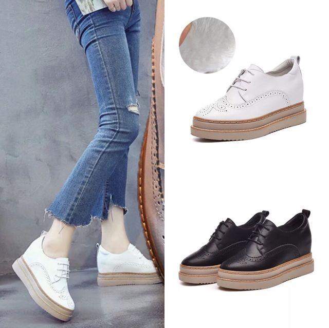 JINCAN giày bánh mì / giày Platform Túi giúp mùa thu 2019 mới dày dưới da dày bên trong tăng với già