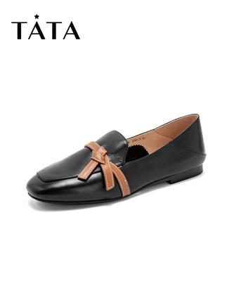 tata Giày Loafer / giày lười Tata / He 2019 quầy thu đông với cùng một đoạn nơ Nón giày vuông Fu già