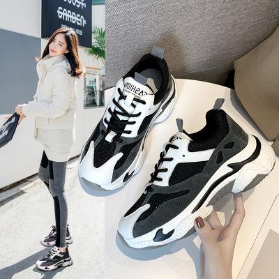 Giày nữ hàng Hot Giày cũ nữ 2019 Phiên bản Hàn Quốc mùa thu da gấu trúc hoang dã Giày thời trang giả