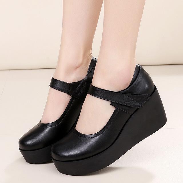 QNML giày bánh mì / giày Platform Giày cao gót đế xuồng chống trơn Giày trung niên giày mùa xuân và