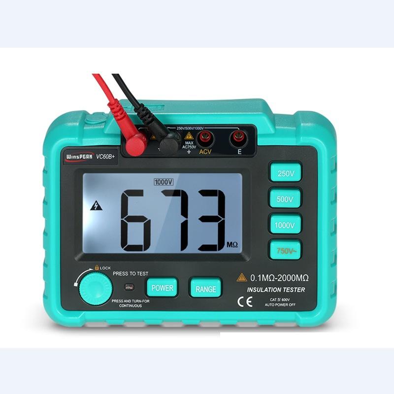 Máy đo vạn năng kỹ thuật số đo điện trở cách điện thử nghiệm dụng cụ đo điện kế ohmmeter VC60B +